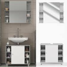Badmöbel Set Fynn Grau Beton Badezimmer Spiegel W Real