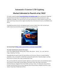 Japan Led Lighting Manufacturer Marketautomotive Exterior Led Lighting Market To Register