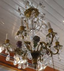 small bronze chandelier decorated with rock crystal flowers small bronze chandelier f15