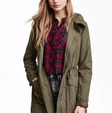 h m parka utility jacket coat in olive green women s fashion clothes outerwear on carou