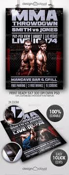 Ufc Flyer Template Realistic Graphic DOWNLOAD Ai Psd Httphardcastde 3