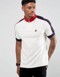 fila vintage polo. fila vintage funnel zip polo shirt in white men gardenia shirts