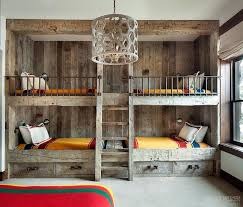 bedroom furniture bunk beds. rustic country bunk room features builtin barnwood beds dressed in yellow bedding flanking bedroom furniture
