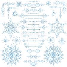 Christmas New Year Decor Set Winter Borders Elements Stock Vector