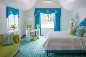 Green and Blue Girl Bedroom with Catty Corner Desk Contemporary