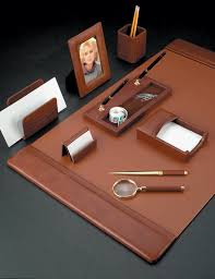 antiqued tan leather desk pad blotter with coordinating leather and gold plated brass accessories