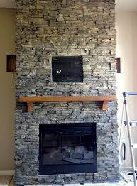 simple decoration fireplace stone tile valuable idea hirondelle rustique diy stacked stone fireplace first remodeling