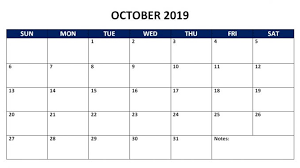 Printable Free Monthly Calendars October 2019 Calendar Template With Editable Notes