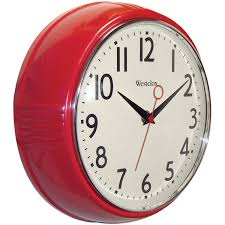 Clocks, Extraordinary Kitchen Clocks Amazon Wall Clocks Walmart Retro Red  Round Color Analog Clock Westclox ...