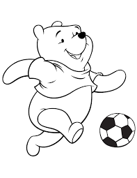 Small Picture Winnie The Pooh Bear Kicking Soccer Ball Coloring Page H M