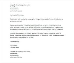 Sample Letters Of Resignation For Nurses Registered Nurse ...
