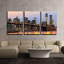 wall26 3 piece canvas wall art manhattan skyline at sunrise new york city on canvas wall art new york city with amazon wall26 3 piece canvas wall art manhattan skyline at