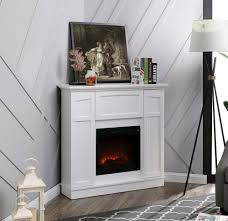 details about 40 wall corner electric fireplace cabinet stand white heater decor led flames