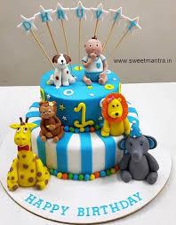 Animals Theme 2 Layer Customized Fondant Cake With 3d Baby Boy