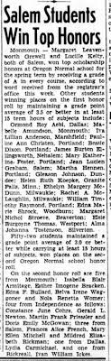 Isabella Blair Armitage honor roll at Oregon Normal School in Monmouth, OR  16 Jun 1938 - Newspapers.com