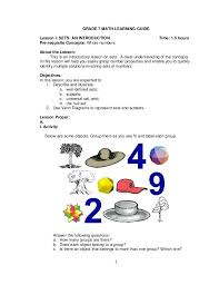 1 Grade 7 Math Learning Guide Lesson I Sets An Introduction Time K ...