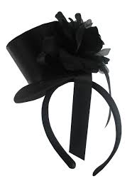 Details About Womens Mini Black Gothic Top Hat With Rose Ribbon Headband Fascinator Accessory