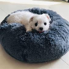 Round <b>Dog Bed</b> Washable <b>long plush</b> Dog Kennel Cats House ...