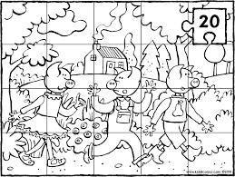 Puzzel 20 Stuks De 3 Biggetjes In Het Bos Kleurprent Kleurplaat