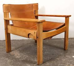 wood and leather chair. Scandinavian Modern Leather And Wood Spanish Style Chairs, Saddle For Sale Chair O