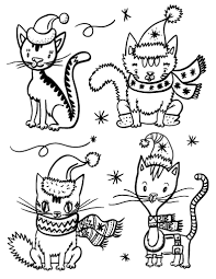 Small Picture Printable Christmas cat coloring page Free PDF download at http