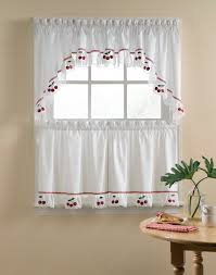 Heather Embroidered Voile Kitchen Curtains