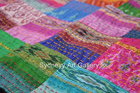 Sydneyy Art Gallery Indian Kantha Quilt, Patola Silk Patchwork ... & Sydneyy Art Gallery Indian Kantha Quilt, Patola Silk Patchwork Kantha  Blanket, Kantha Bohemian Bedding, Reversible Bedsheet / Blanket Decorative  Vintage ... Adamdwight.com