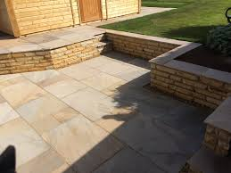 another view of the retaining wall and patio area
