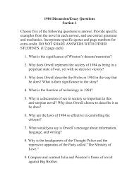 1984 Essay Topics 1984 Discussion Essay Questions I