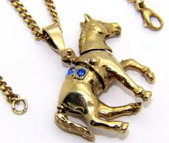 details about las womens 9ct 9carat yellow gold movable horse pendant chain