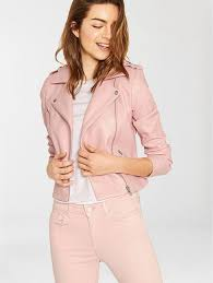 latest oasis lucy faux leather biker jacket pink for women