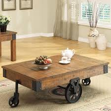 coffee table coffee table on wheels rustic coffee table with wheels and tea set in