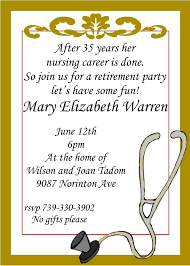 Invitation Cards Designs For Retirement Party Nursing Retirement Party Invitations Custom Made