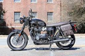triumph bonneville t100 t120 left side solo bag black brown tl01