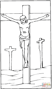 Jesus crucified on the cross coloring page   Free Printable ...