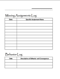 missing ignments and behavior logbook pages