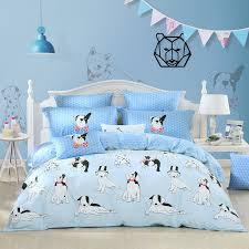 black white and light blue dog print