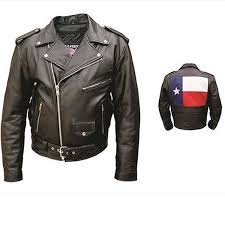 allstate mens classic motorcycle black leather texas flag biker jacket