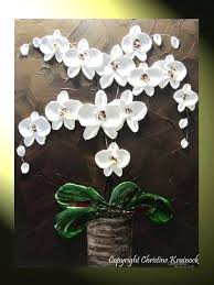 orchid wall art original abstract textured painting orchids white flowers modern orchid flower in vase palette