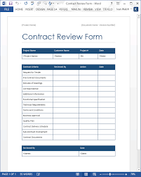 Contract Review Form Word Template Software Testing Templates