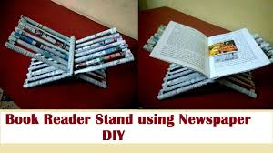 how to make book reader stand using newspaper diy newspaper craft best out of waste kids crafts
