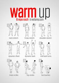 pre workout warm up i would do few more warm up exercises beside these above when you feel you re started to sweat than you can go on and start
