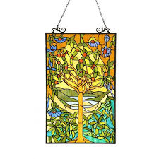 chloe tiffany style tree of life stained glass window panel free today 8463137