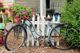 Download Rusty Old Vintage Bike Displayed In Flower Garden Stock Image -  Image of peeling,