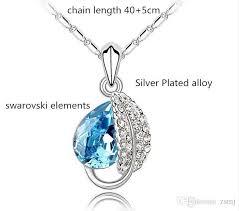 2019 2016 swarovski elements crystal necklace earrings sets rhinestone water drop crystal pendant platinum plating acacia leaf stud from zsmj