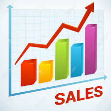 Sales Chart Positive Business Sales Chart Vector Icon Background Royalty Free