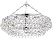 calypso 6 light crystal teardrop polished chrome chandelier