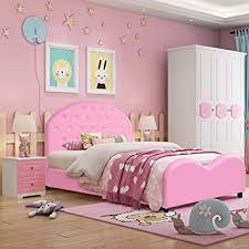 Costzon Toddler Bed, Twin Size Upholstered Platform Bed W/Embedded Crystal Wood Bedframe...