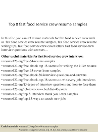 Fast Food Resume Awesome Top 28 Fast Food Service Crew Resume Samples