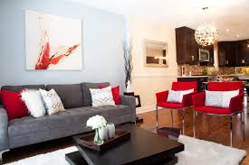 Red Accent Decor contemporary-living-room